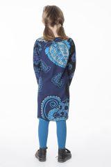 Robe bleue pour fille avec un imprimé de fleurs 287284