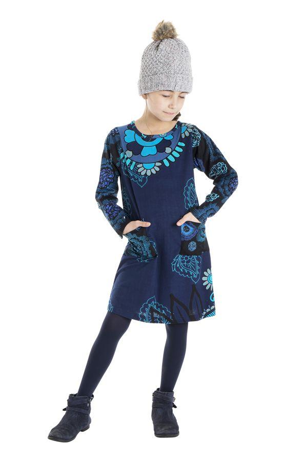 Robe bleue pour fille avec un imprimé de fleurs 302226