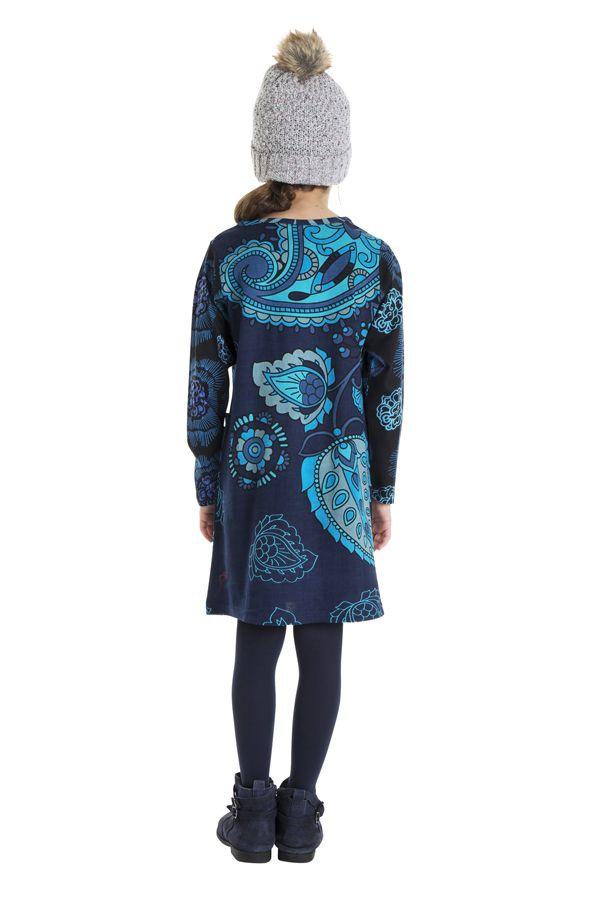 Robe bleue pour fille avec un imprimé de fleurs 302227