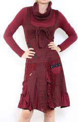 Robe bohème à col roulé manches longues Bordeaux Jade 302905