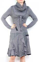 Robe bohème à col roulé manches longues grise Jade 302896