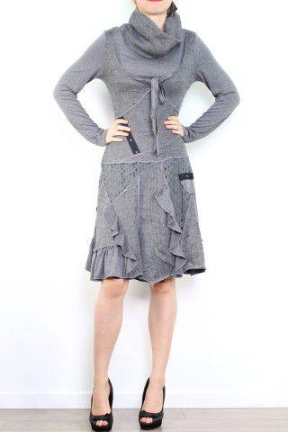 Robe bohème à col roulé manches longues grise Jade 302898
