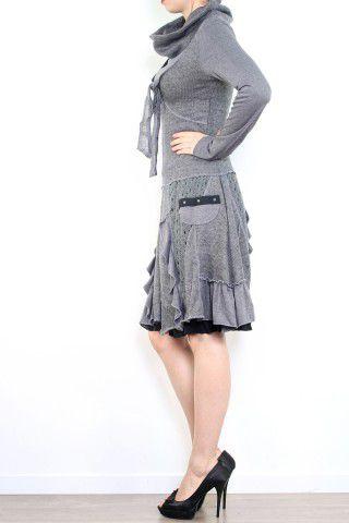 Robe bohème à col roulé manches longues grise Jade 302899