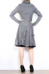 Robe bohème à col roulé manches longues grise Jade 302900