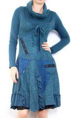 Robe bohème à col roulé manches longues Jade Bleu 302917
