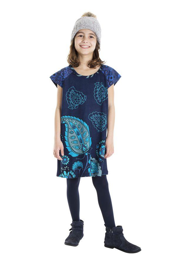 Robe bohème pour petite fille pas chère bleu 302257