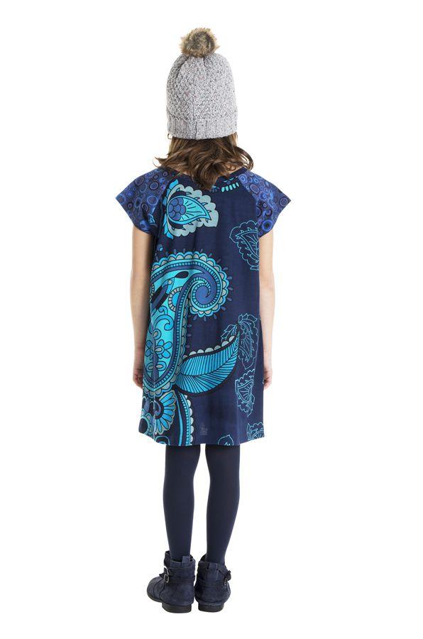 Robe bohème pour petite fille pas chère bleu 302258