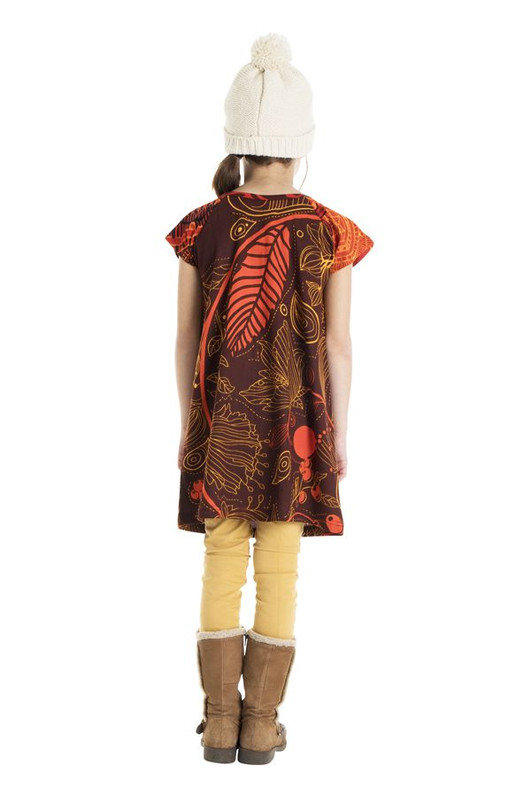 Robe bohème pour petite fille pas chère marron 302256