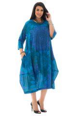 robe boule 100% voile de coton avec imprimés mandalas bleue Narva 290359