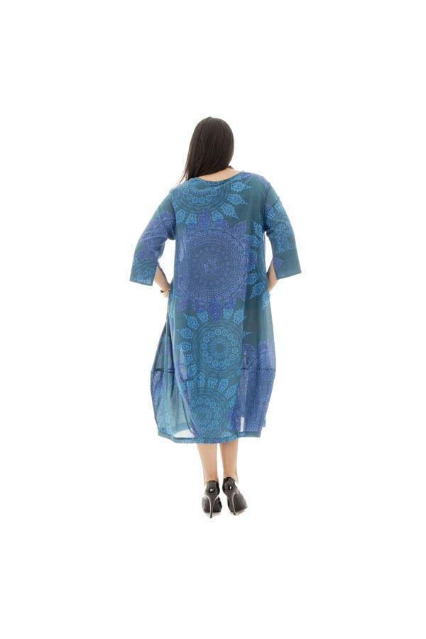 robe boule 100% voile de coton avec imprimés mandalas bleue Narva 290360
