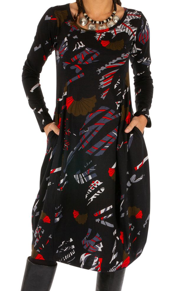 Robe boule à manches longues originale et imprimée Minvoul 312718