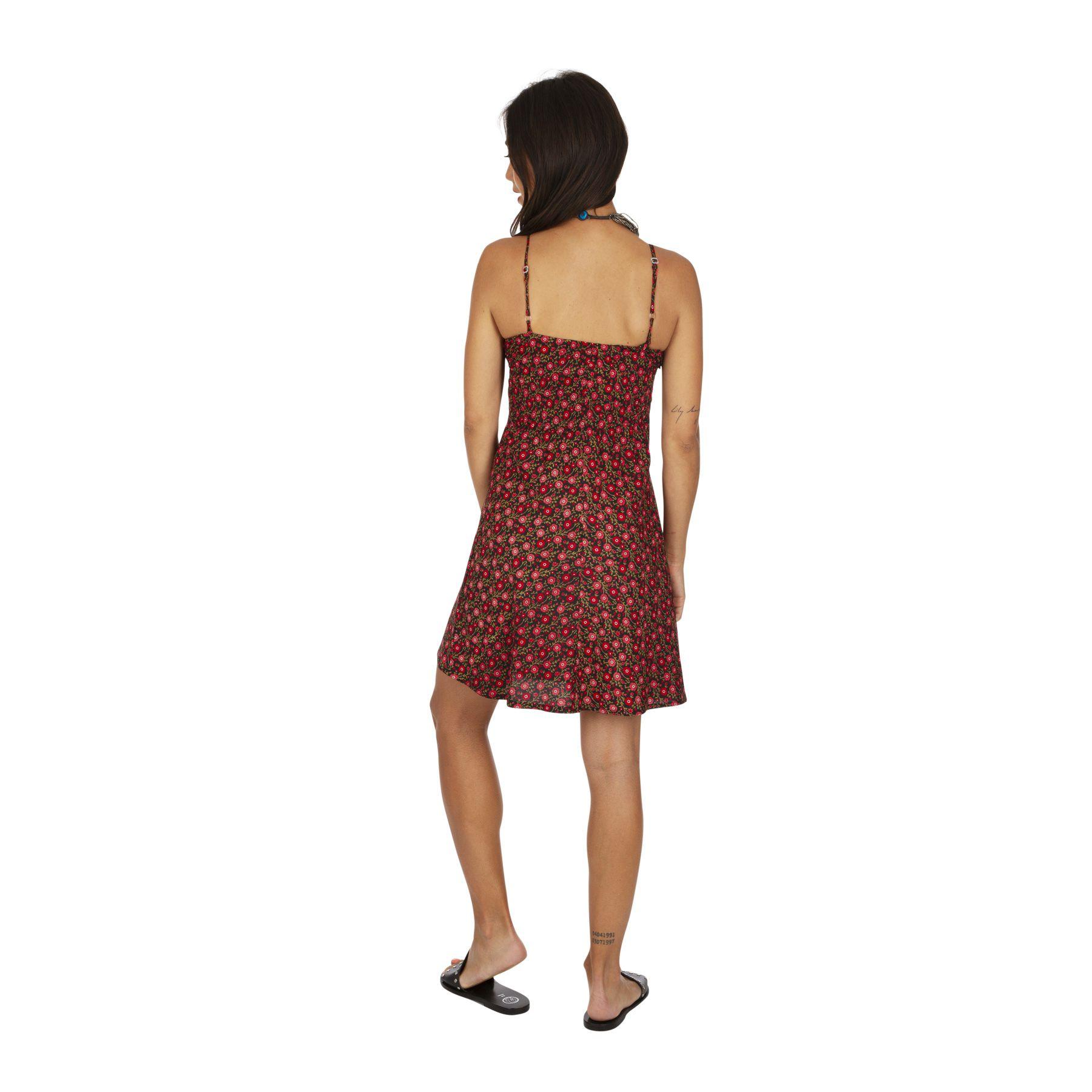 Robe caraco noire imprimé à fleurs rouge nuisette tendance Nora