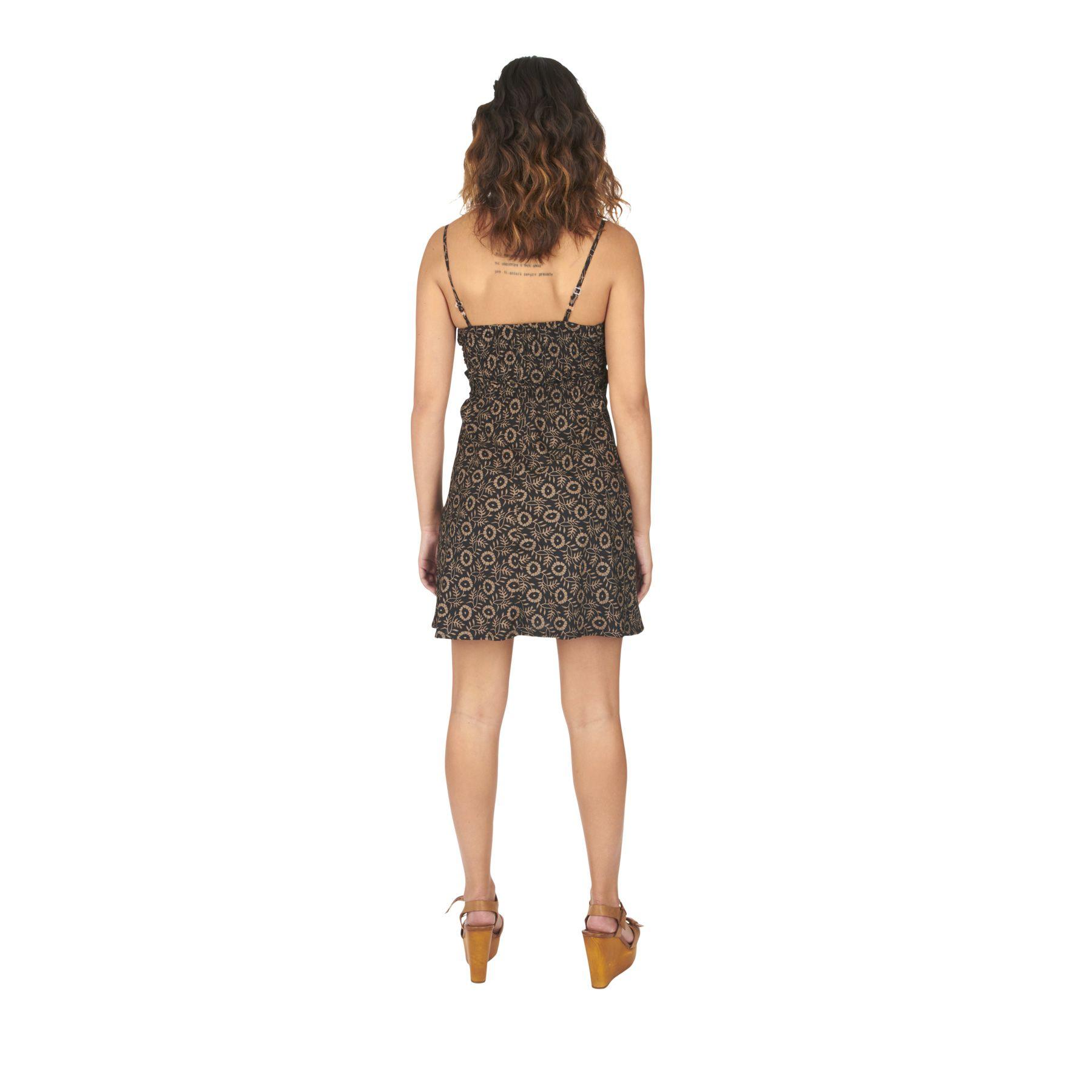 Robe caraco noire imprimé wax à bretelles Cédrat