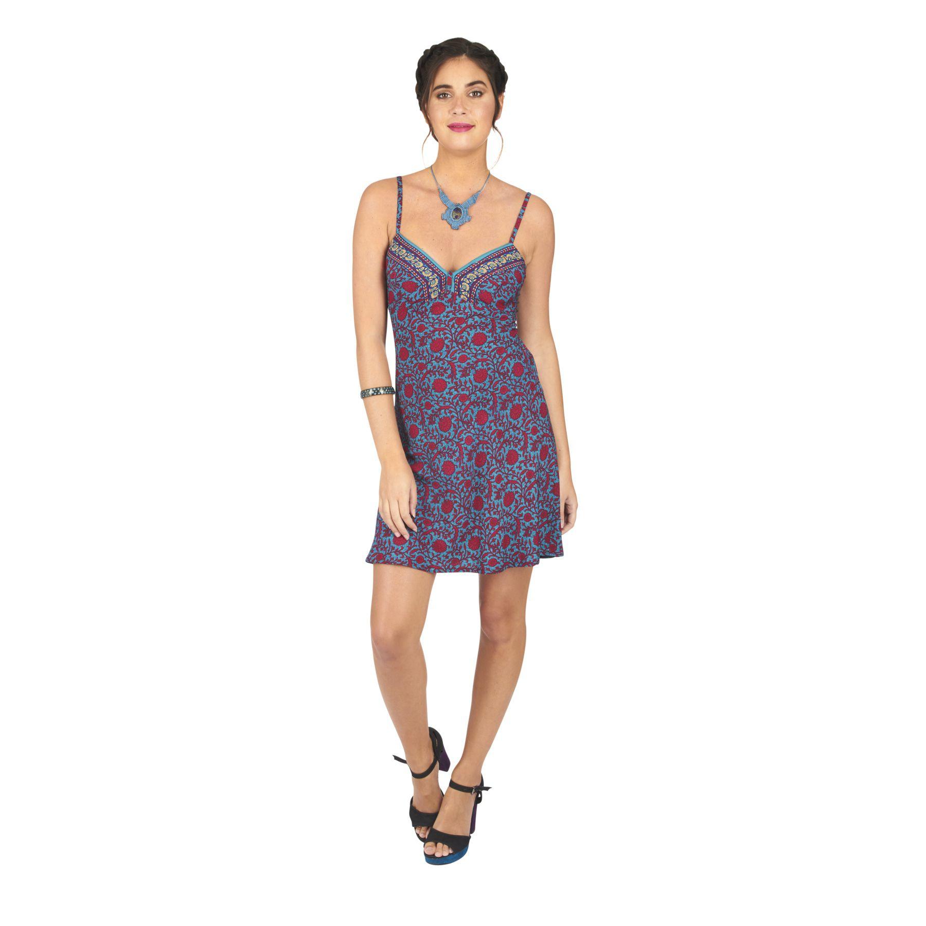 Robe caraco slip dress sexy imprimé à fleurs Sandra