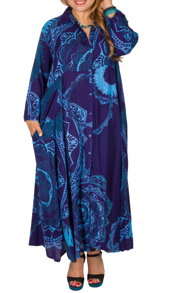 Robe chemisier manches longues grande taille Mihaela