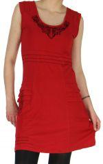 Robe Chic d'hiver sans manches Tribale et Originale Estal Rouge 278905