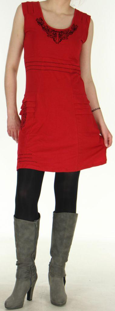 Robe Chic d'hiver sans manches Tribale et Originale Estal Rouge 278906
