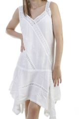 Robe chic en viscose avec broderie blanche Clay 296695