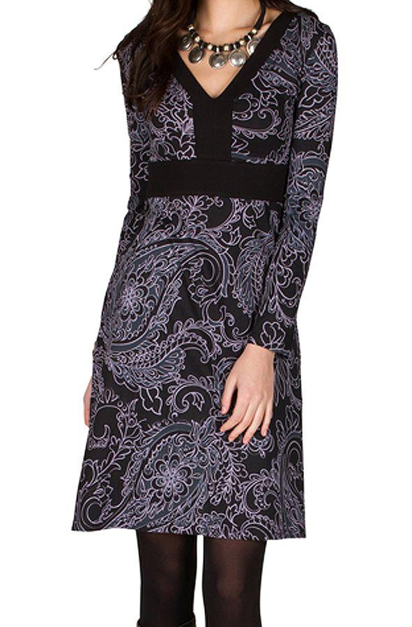 Robe Chic et coupe droite en coton à imprimé noir et gris Sven 301642