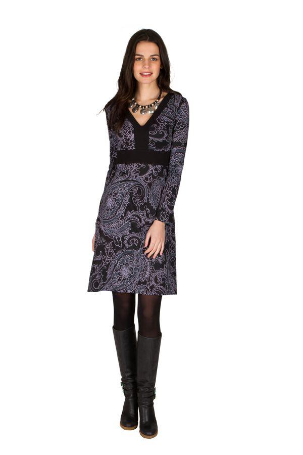 Robe Chic et coupe droite en coton à imprimé noir et gris Sven 301643