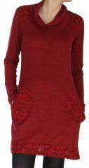 Robe col Bénitier à manches longues Originale Jeanny Bordeaux 279106