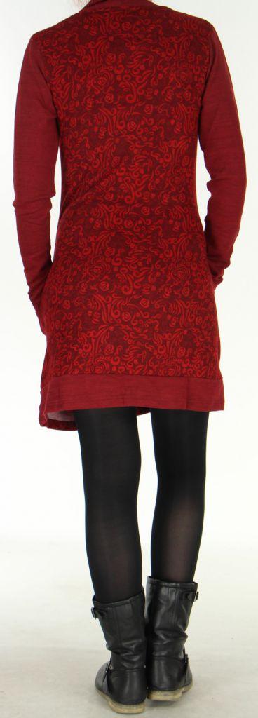 Robe col Bénitier à manches longues Originale Jeanny Bordeaux 279108
