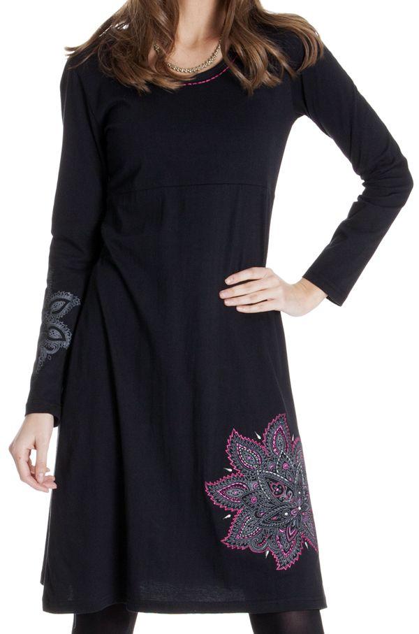 Robe col rond Ethnique idéale pour sortie Noémie Noire 286815