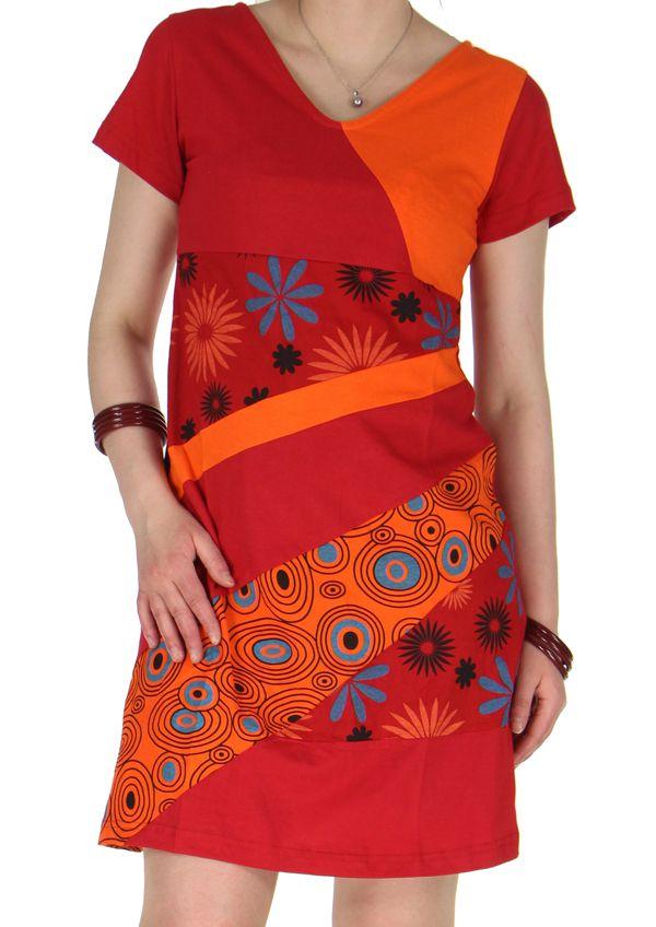 sélection premium eafbf f5f4b Robe courte d'été Ethnique et Imprimée du Népal Lavanya Rouge