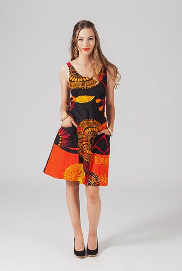 Robe coloré noire et orangée Florence 318835