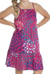 Robe colorée à bretelles pour enfant avec imprimé rose Laly 294401
