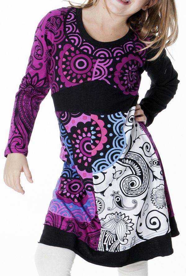 Robe colorée aux imprimés originaux pour fille 287189