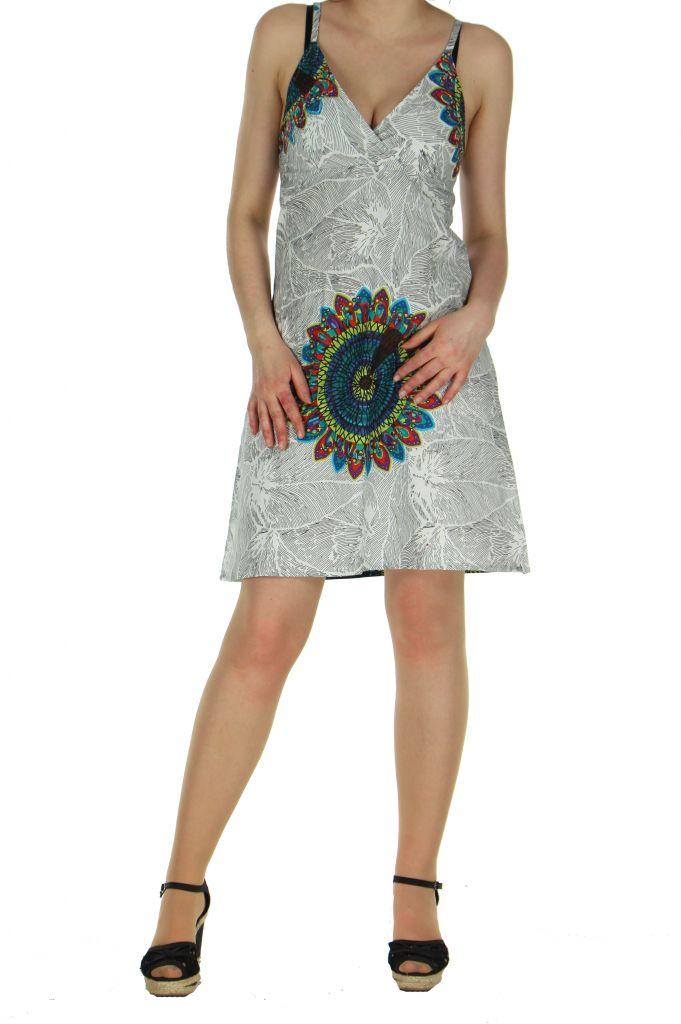 Robe colorée dos-nu blanche Alexa 268245