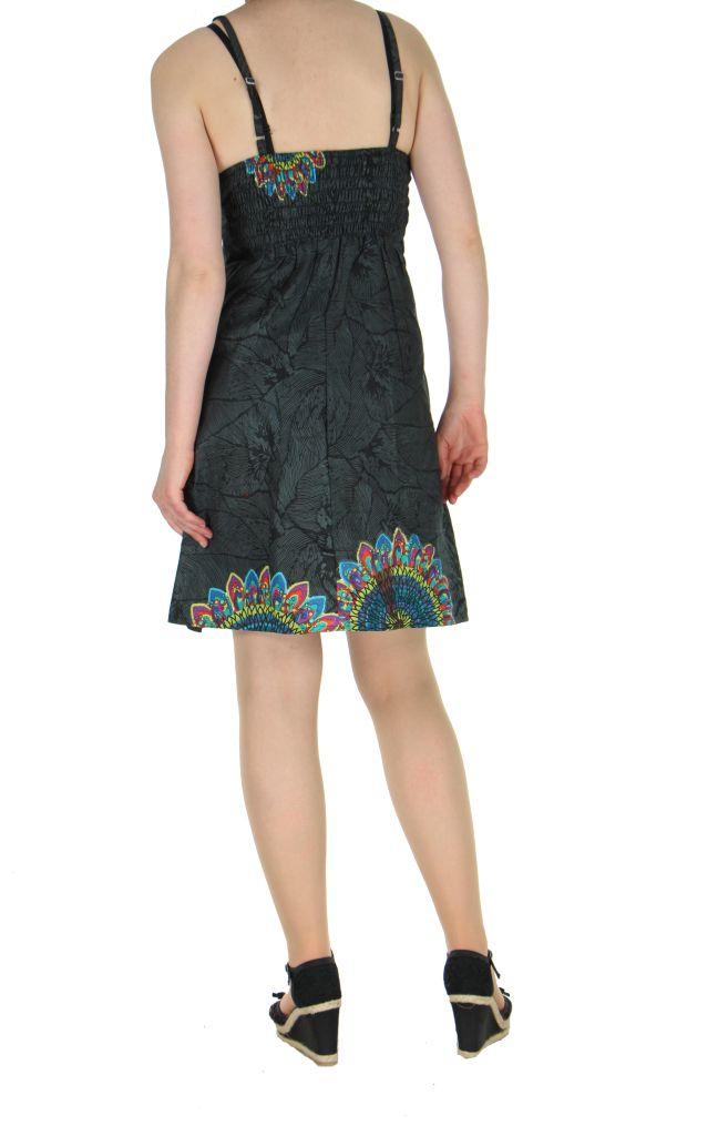 Robe colorée dos-nu noire Alexa 268248