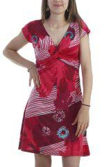 Robe colorée et féminine à manches courtes et col croisé fuchsia Poupette 296549