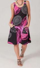 Robe colorée noire et rose Florence 268176