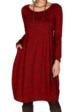 Robe colorée originale à manches longues chic Rouge Frenchies 300264
