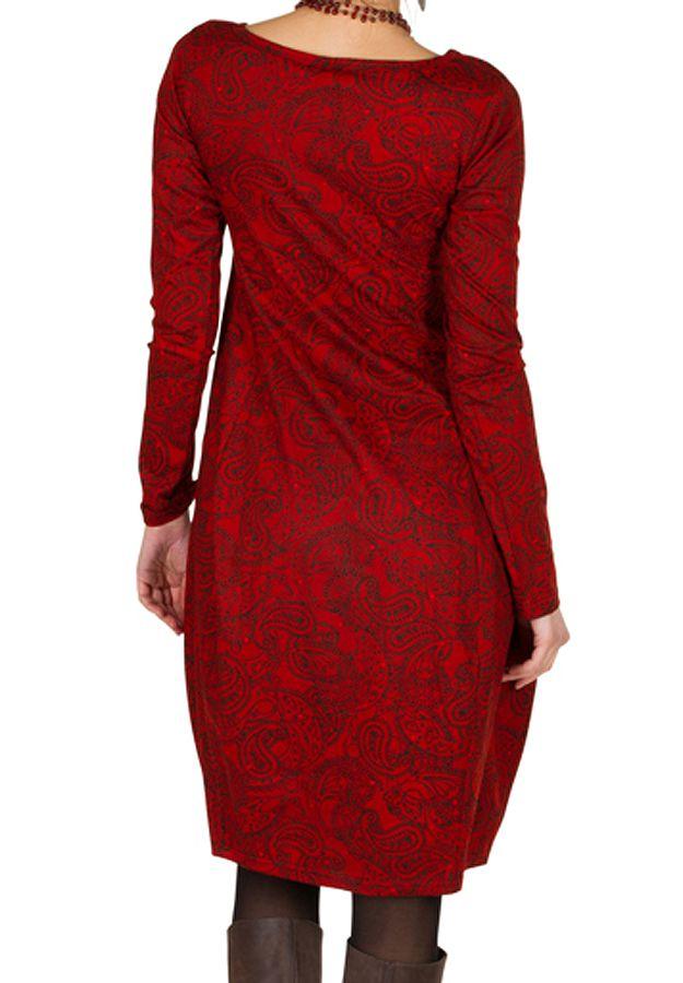 Robe colorée originale à manches longues chic Rouge Frenchies 300266
