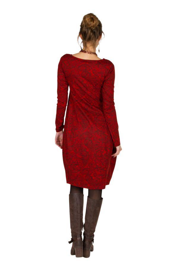 Robe colorée originale à manches longues chic Rouge Frenchies 300267
