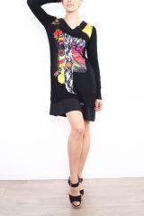 Robe colorée originale à manches longues noire Sabrina 302612