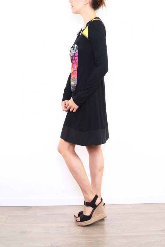Robe colorée originale à manches longues noire Sabrina 302613