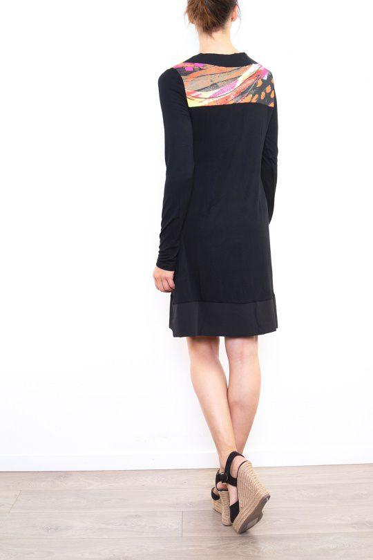 Robe colorée originale à manches longues noire Sabrina 302614