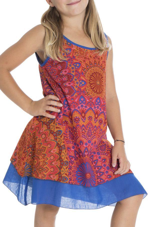 Robe colorée pour enfant à doublure en voile de coton Lara 294555