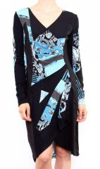 Robe colorée pour femme avec un col en V bleu Cindy 302667