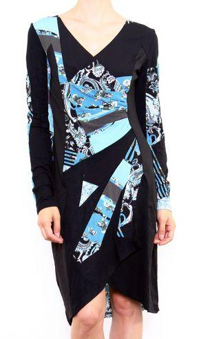 Robe colorée pour femme avec un col en V noire & bleue Cindy 302667