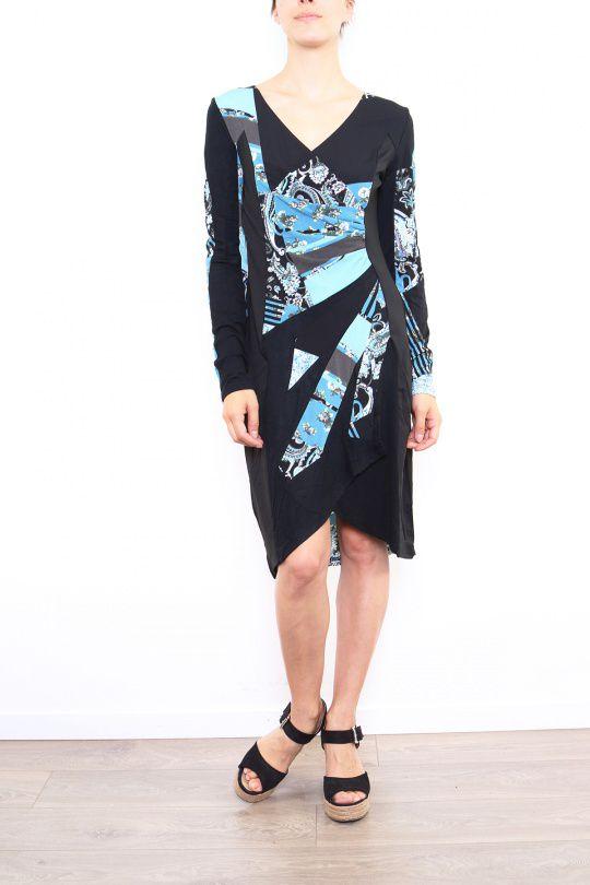 Robe colorée pour femme avec un col en V noire & bleue Cindy 302668