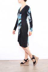 Robe colorée pour femme avec un col en V noire & bleue Cindy 302669