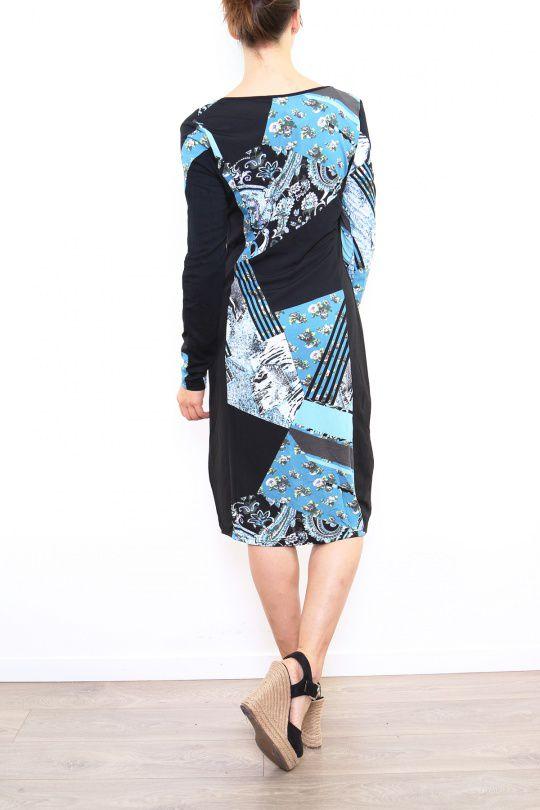 Robe colorée pour femme avec un col en V noire & bleue Cindy 302670