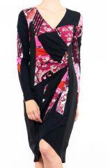 Robe colorée pour femme avec un col en V rouge Cindy 302671