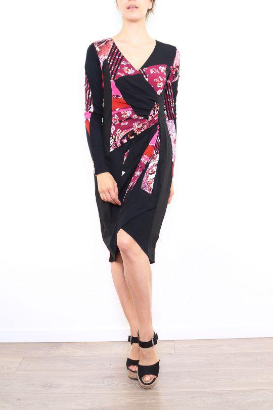 Robe colorée pour femme avec un col en V rouge Cindy 302672