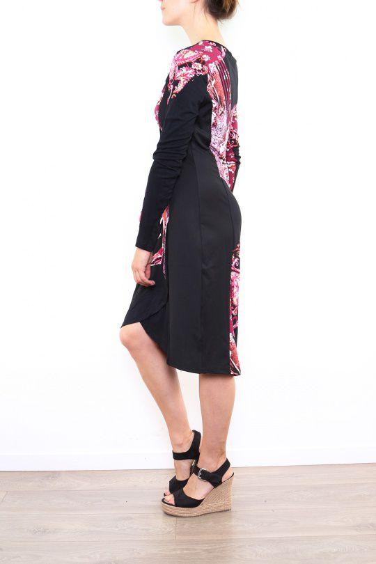 Robe colorée pour femme avec un col en V rouge Cindy 302673